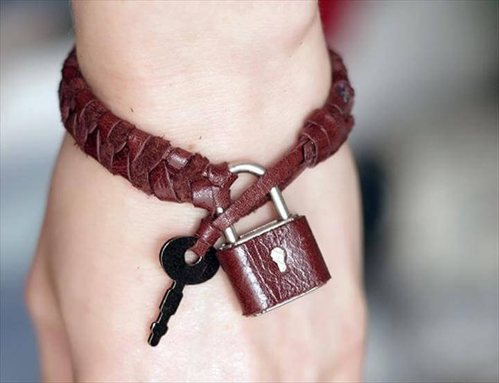 DIY padlock and key bracelet