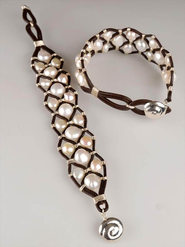 Leather Pearl Cuff