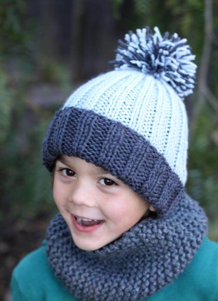 Beginner Easy Ribbed Pom Hat