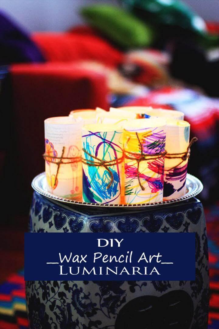 Wax Pencil Art Luminaria – Best Easy Funny DIY Thanksgiving Kid Project Craft Ideas
