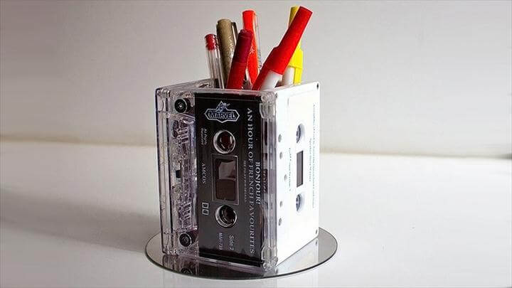 Cassette desk caddy or retro vase