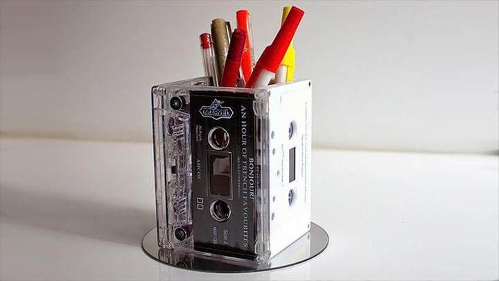 Cassette desk caddy or retro vase