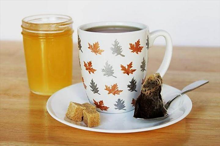 ... Cool Metallic Fall Leaf Mug – Best Cool & Easy Thanksgiving Kid Craft Project Ideas
