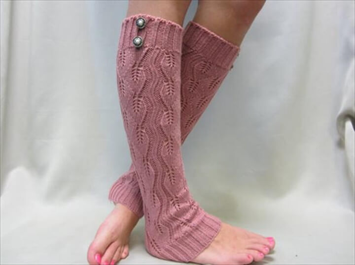 DIY Pink Color Crochet Leg Warmers