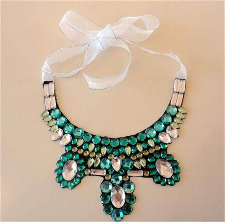 Collar Necklace Pattern Ribbon Glueing Rhinestones