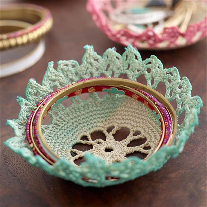 Mrs Meyers Social Activation lace doily bowls dyed