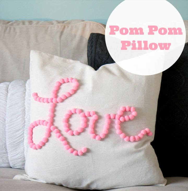 handmade pom pom pillow