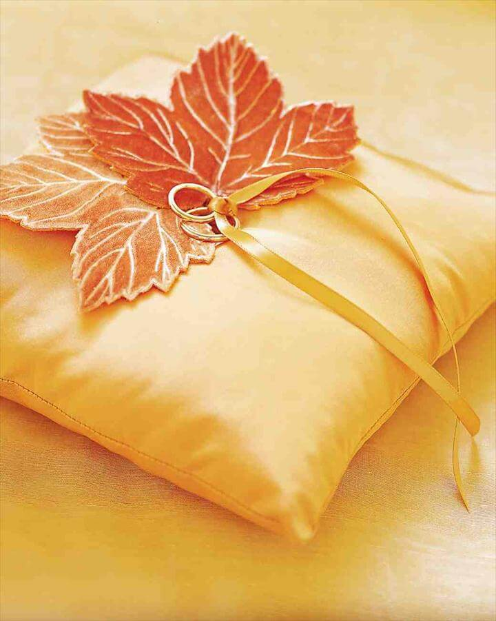 Velvet Leaf Ring Pillow