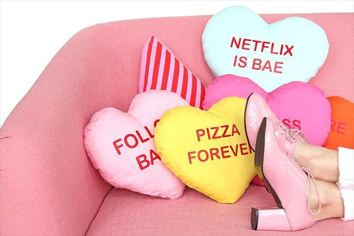 DIY Galentine's Day Heart Pillows