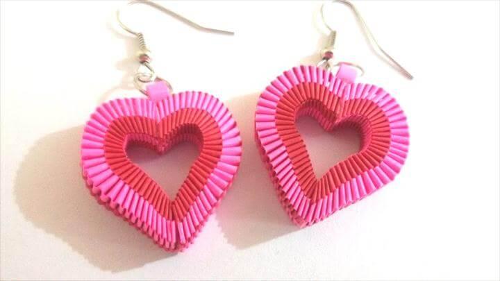 Paper Weaving Heart Shape Earrings