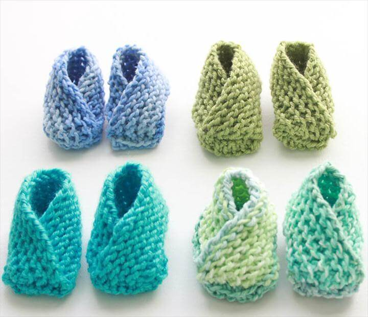 Knitting Pattern for the Easiest Baby Booties