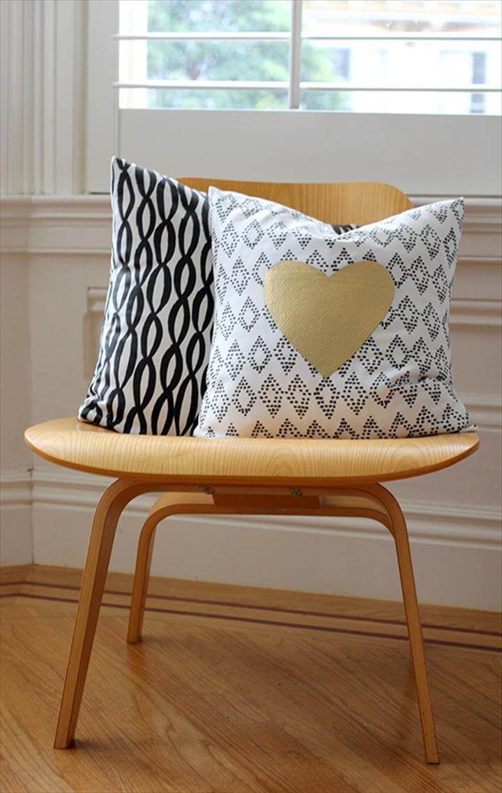 gold fabric heart pillow