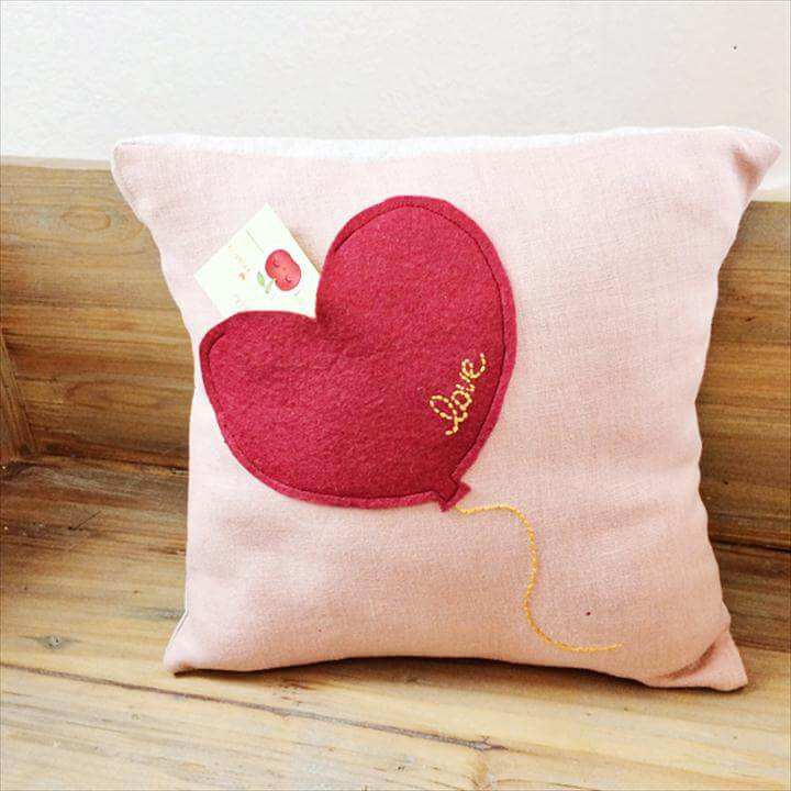 diy heart balloon pillow
