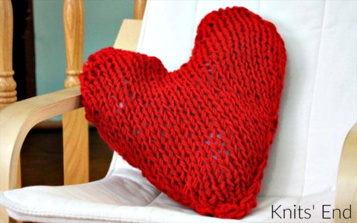 pure red crochet heart pillow