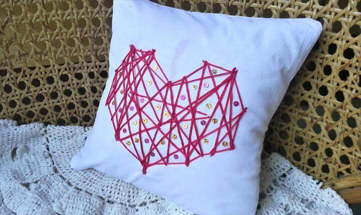 string heart pillow, sequin pillow
