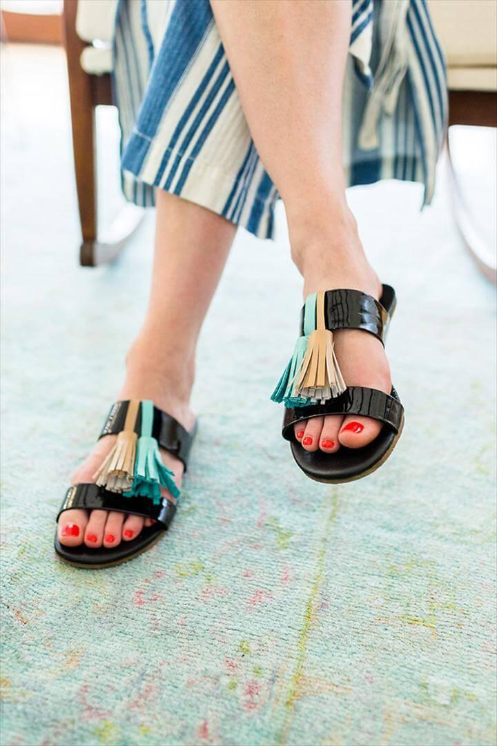 tassel slide sandals