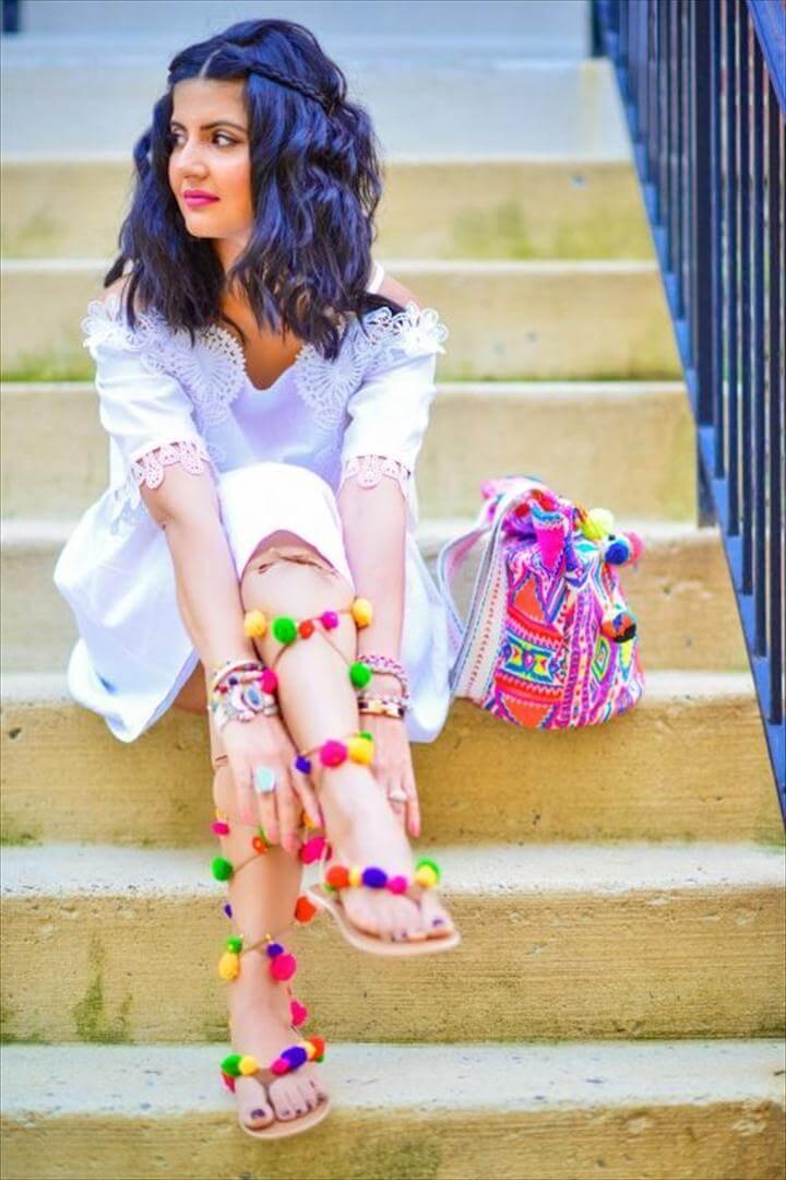 White Dress Pom Pom Sandals