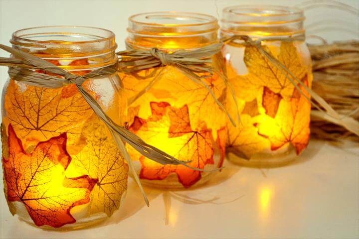 diy mason jars, diy leaf mason jars. diy ideas