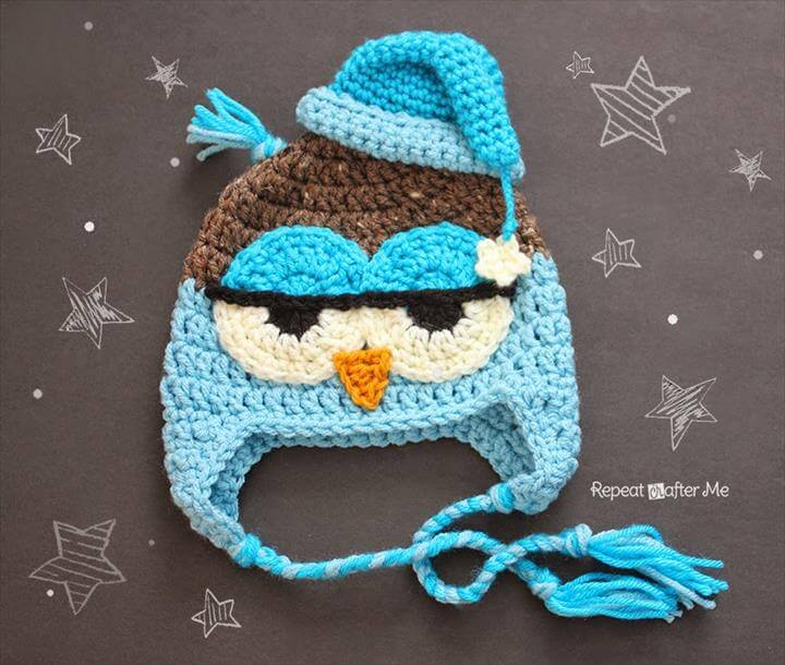 owl crochet cap idea, diy owl cap idea, crochet free pattern idea for owl crochet cap