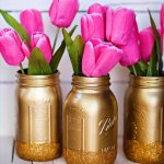 valentines mason jar ideas, diy valentines gift idea, diy mason jars with flowers