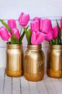 valentines mason jar ideas, diy valentines gift idea, diy mason jars with flowers