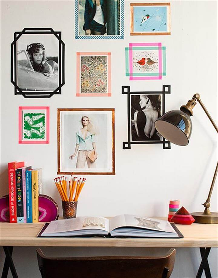 diy wall decor ideas, wall decor with tape, washi tape decor wall