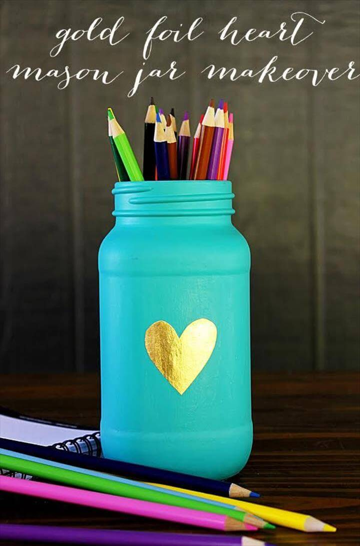diy mason jar, diy pencil holder jar, diy heart mason jar