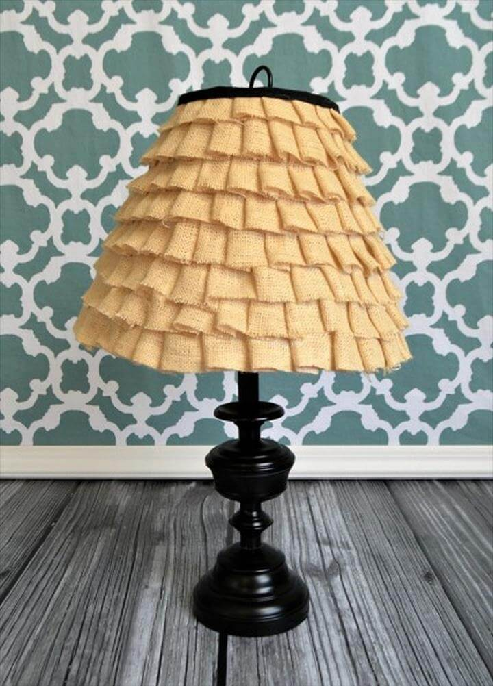 room decor with lamp, diy lamp ideas for room decor, ruffle lamp ideas