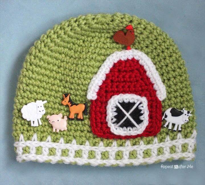 farm crochet cap, diy crochet cap, crochet cap for baby