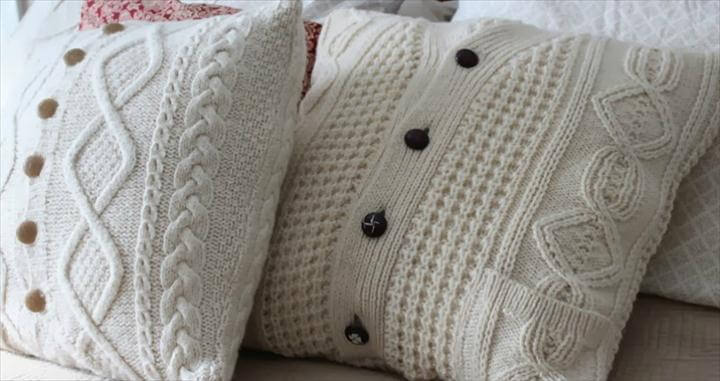 home decor, diy pillow, button pillow, sweater pillow, crochet pillow