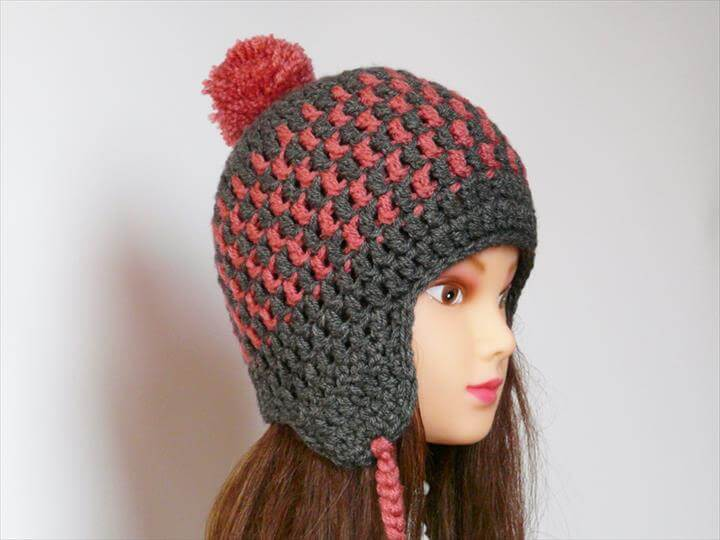 pom pom crochet cap, diy crochet cap, diy unique crochet cap for girls