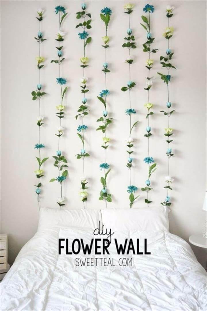 flower wall decor ideas, diy flower decor ideas, diy wall decor ideas for room
