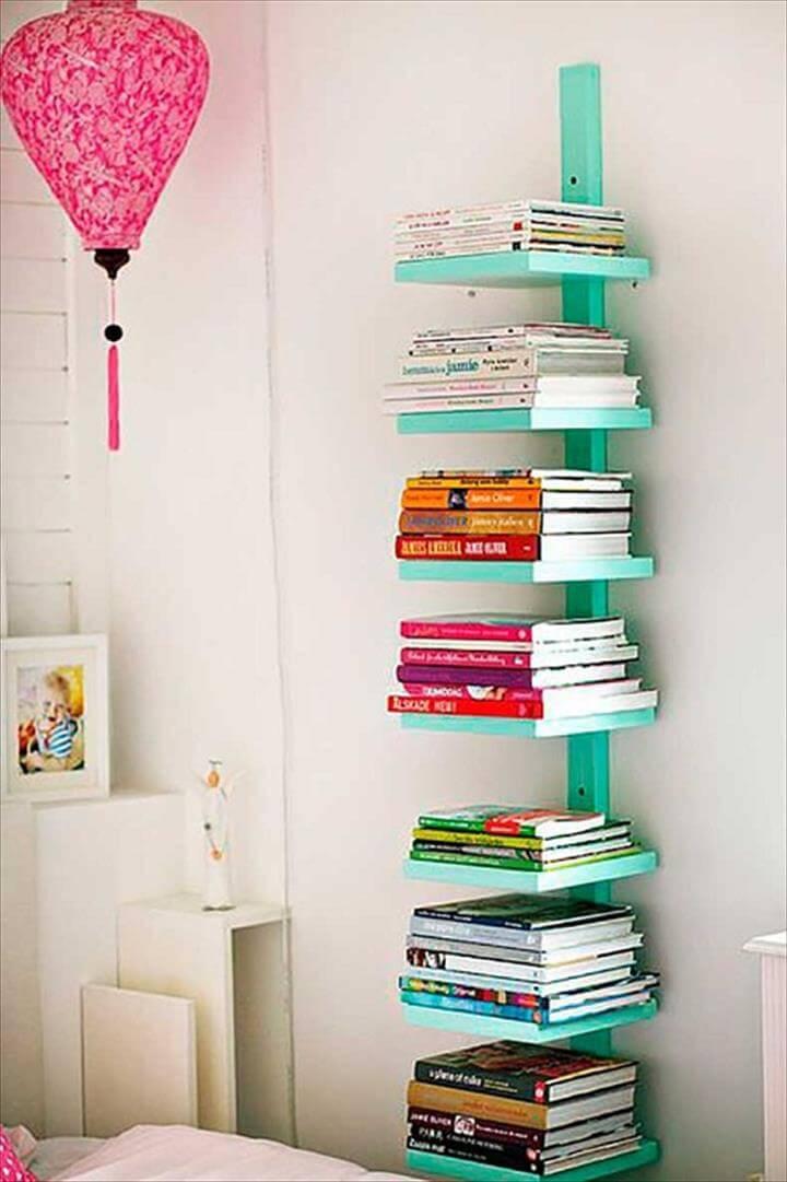 book shelve ideas, diy hanging book shelve ideas, diy room decor ideas