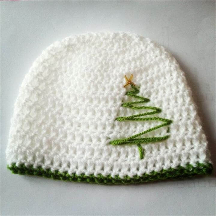 Simple white crochet, diy white crochet cap