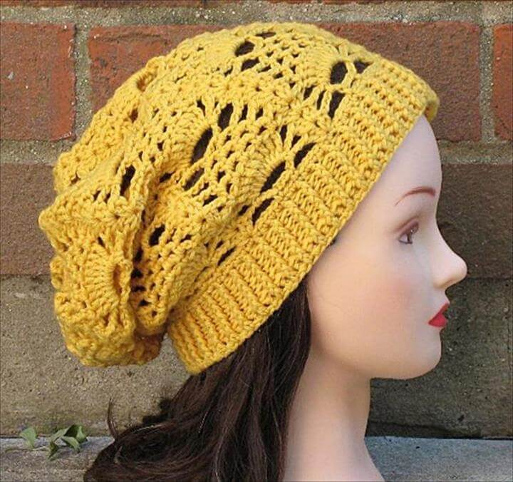 yellow crochet cap, knit crochet cap, diy crochet pattern