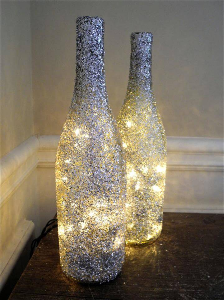 bottle decor lamp, bottle lamp ideas, diy lamp ideas