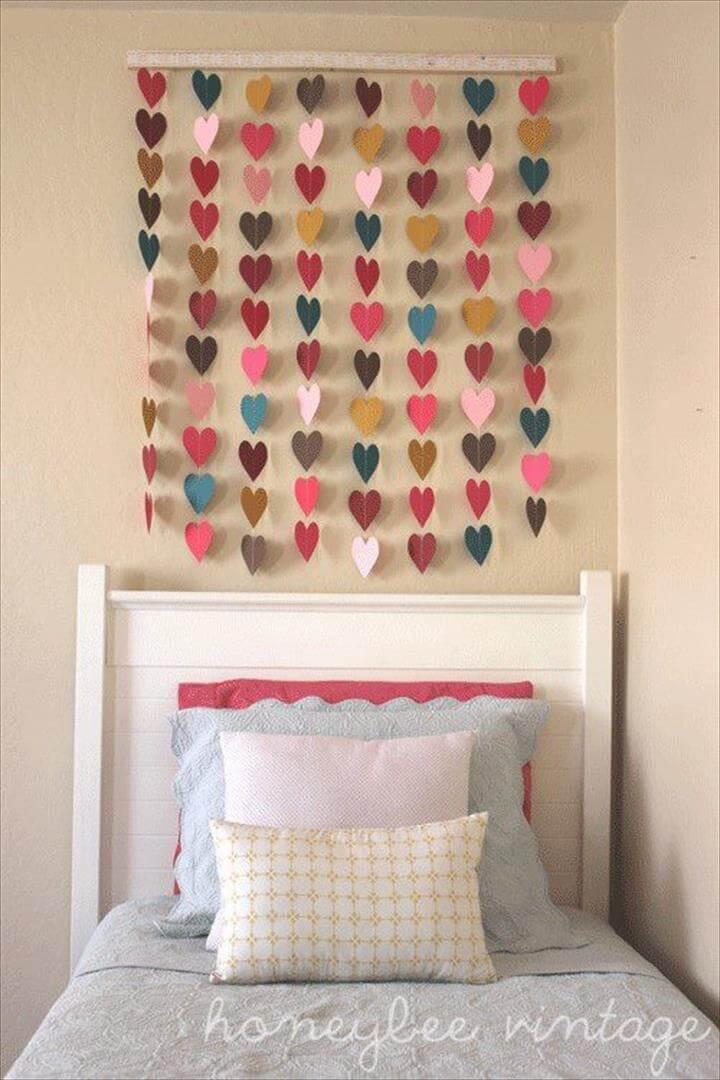 do it yourself, creative ideas for room, diy wall decorating ideas, hearts wall decor ideas