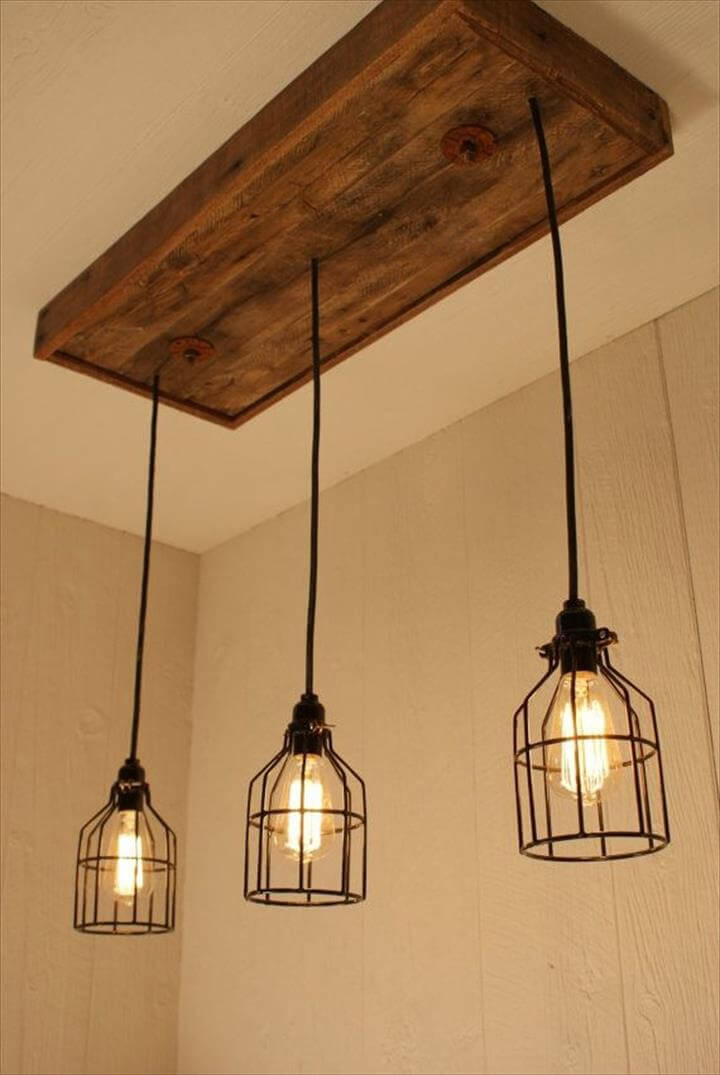 Hanging lamp ideas, hanging diy ideas, Cage Light Chandelier idea