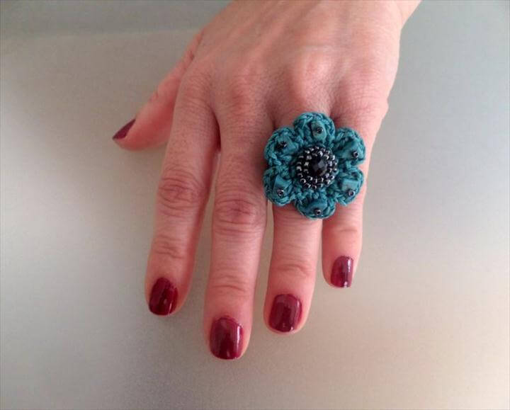 Crocheted Flower Ring, Τurquoise waxed Cord & Silver Seed Beads, Celebration Gift, Crocheted
