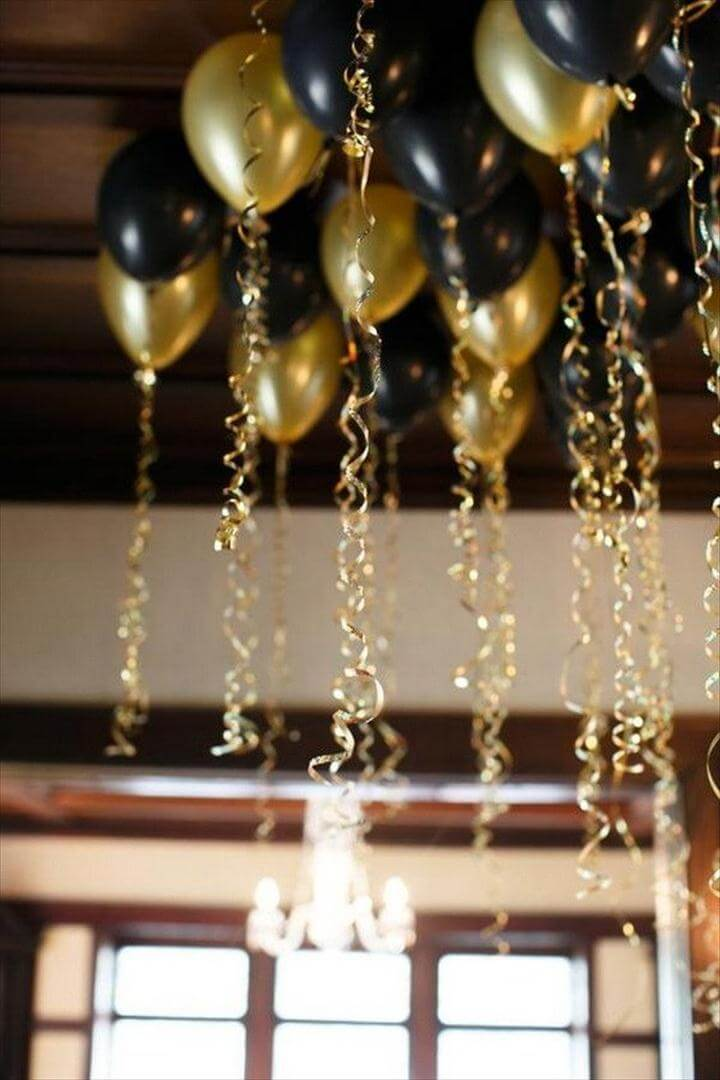 Black and Gold Balloons with Gold Ribbons
