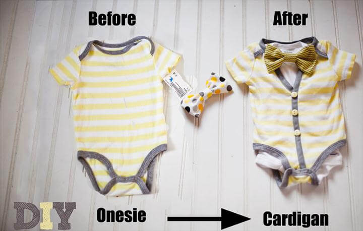 Cardigan and bow tie onesie