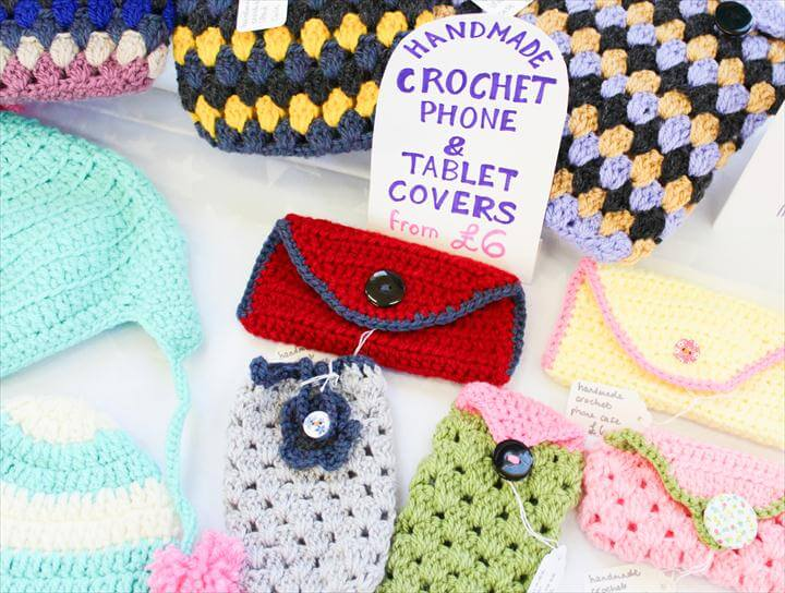 crochet purses, phonecases