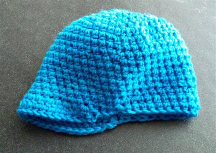 crochet blue hat