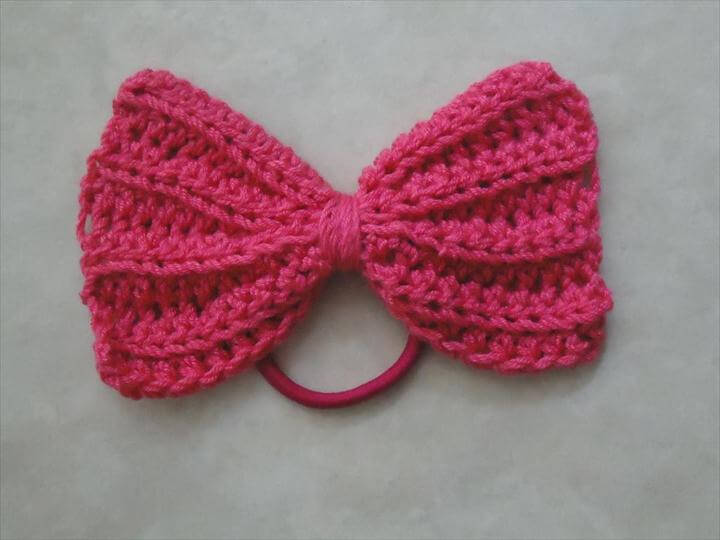 crochet bow hair tie
