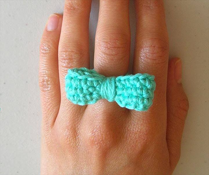 Mini Crochet Bow Tie Ring