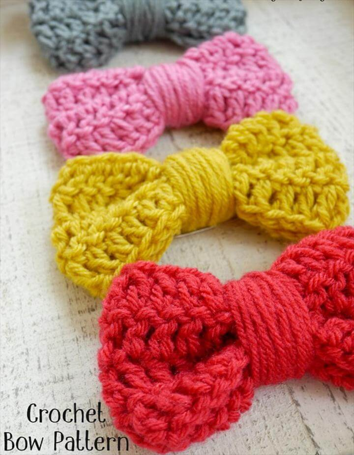Crochet Bow Pattern - great for hair clips or any accessory