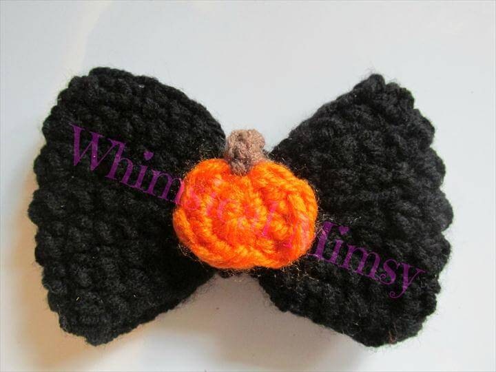 Crochet Pumpkin Hair Bow, Halloween Hair Clip
