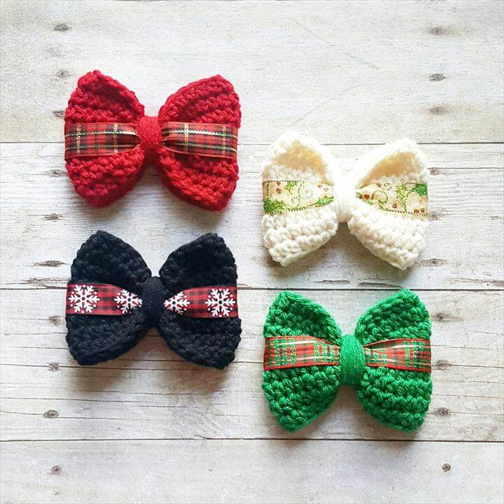 Crochet Christmas Bow Hair Clip Bow Headband