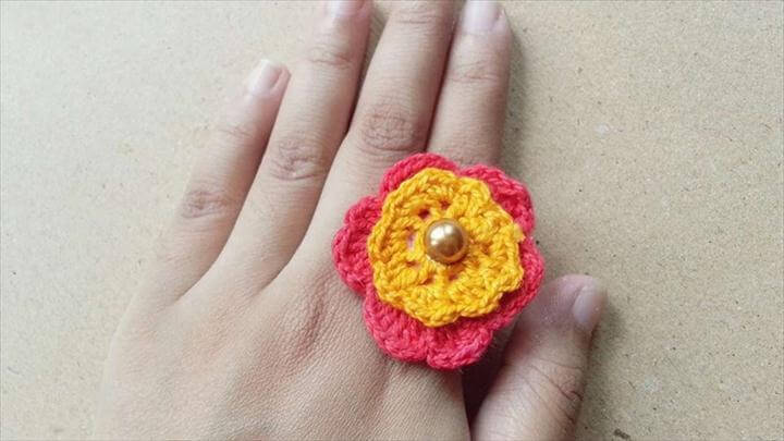 Pretty Crochet Flower Ring - DIY Tutorial