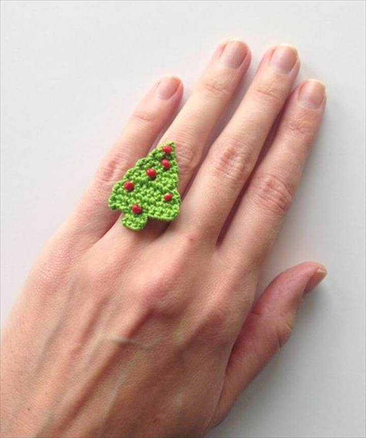 Christmas tree crochet ring Tutorial